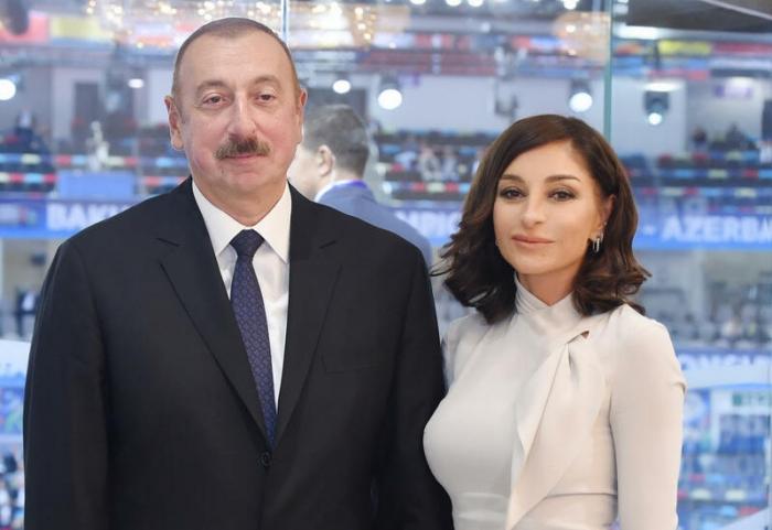 Ilham Aliyev and  Mehriban Aliyeva in Shusha