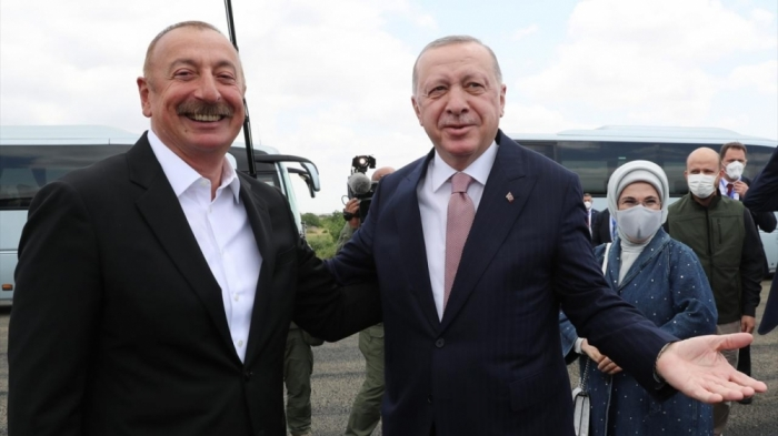 Ilham Aliyev welcomed  Recep Tayyip Erdogan in Fuzuli district