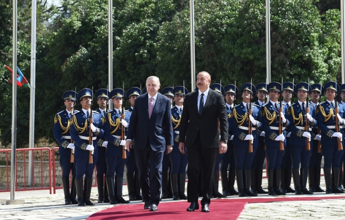 Official welcome ceremony was held for Turkish President in Shusha
