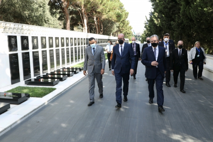 President of European Council Charles Michel visits Alley of Martyrs